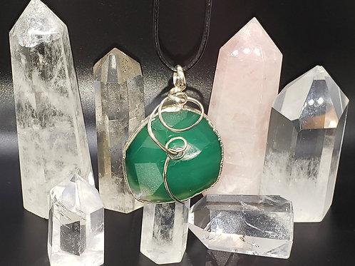Green Agate Pendant -Med