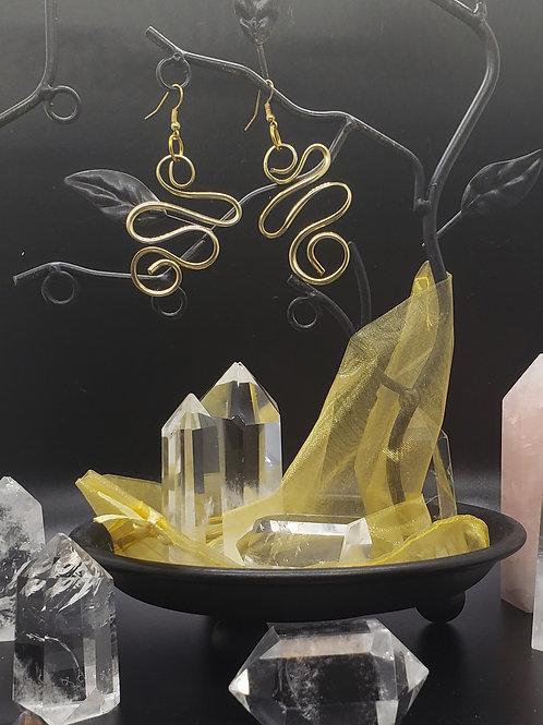 Abstract Earrings- Brass