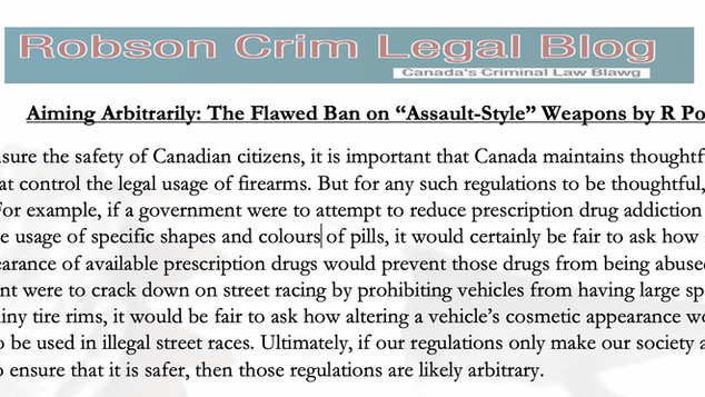 """Aiming Arbitrarily: The Flawed Ban on """"Assault-Style"""" Weapons by R Poirier"""