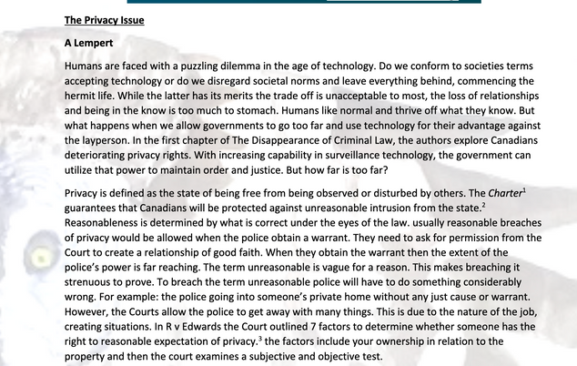 The Privacy Issue by A Lempert