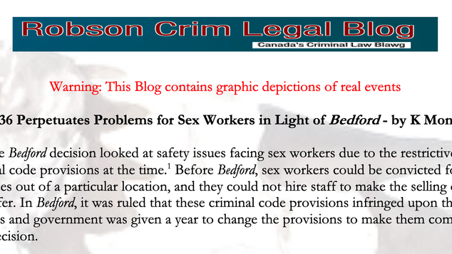 How Bill-36 Perpetuates Problems for Sex Workers in Light of Bedford - by K Montelban