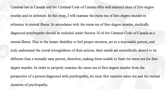 Psychopathy as a Criminal Defence Regarding the Mens Rea of First-Degree Murder
