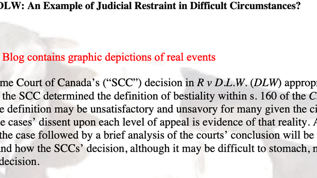 The SCC and DLW: An Example of Judicial Restraint in Difficult Circumstances? By M Jack