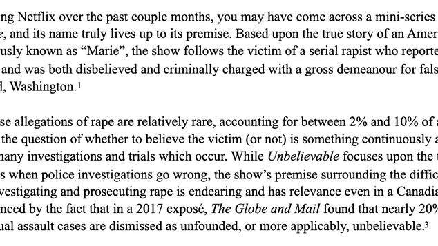 UNBELIEVABLE: The Funnel Effect of Rape Attrition in the Criminal Justice System