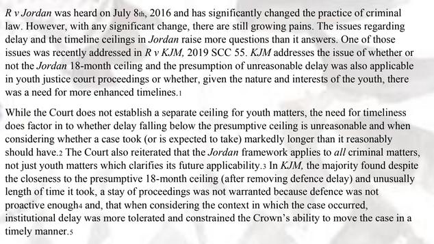 After R v Jordan: Reflections on the R v KJM, R v KGK and Subsequent Policy Changes