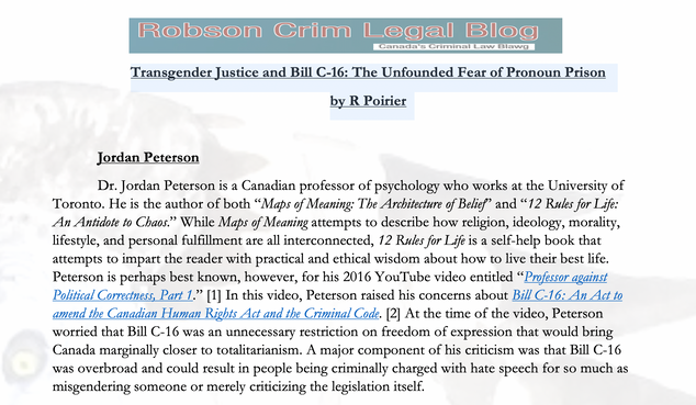 Transgender Justice and Bill C-16: The Unfounded Fear of Pronoun Prison by R Poirier