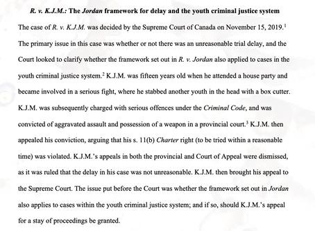 R. v. K.J.M.: The Jordan framework for delay and the youth criminal justice system