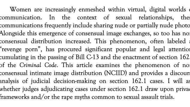 Judicial Constructions of Responsibility in Revenge Porn