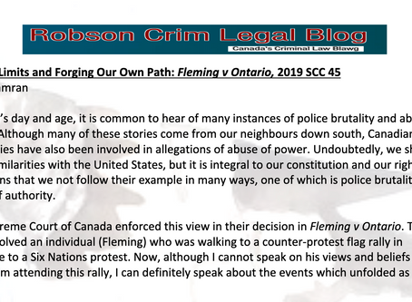 Setting Limits and Forging Our Own Path: Fleming v Ontario, 2019 SCC 45 By: F Kamran