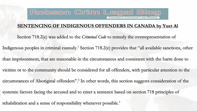 SENTENCING OF INDIGENOUS OFFENDERS IN CANADA by Yuet Al