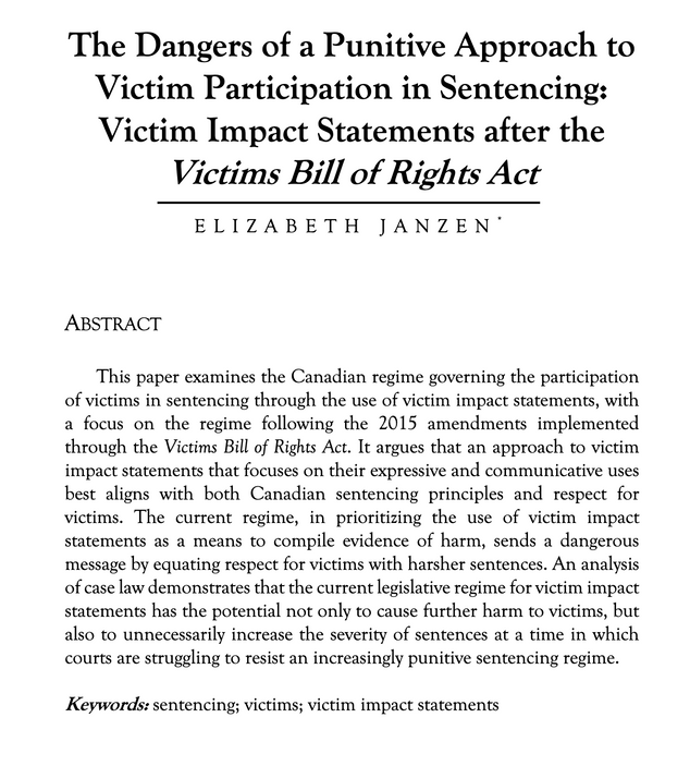 The Dangers of a Punitive Approach to Victim Participation in Sentencing: by ELIZABETH JANZEN
