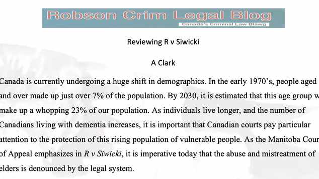 Reviewing R v Siwicki by A Clark
