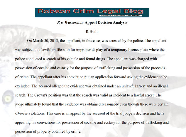 R v Wasserman - the Appeal by R Hothi