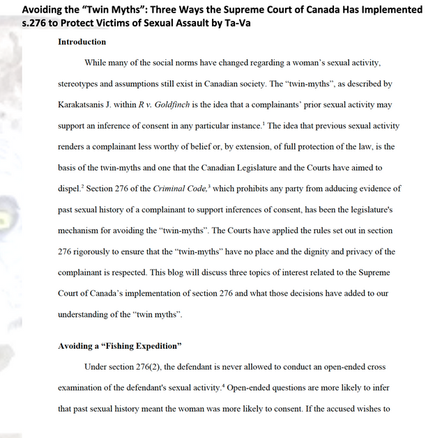 """Avoiding the """"Twin Myths"""": 3 Ways the Supreme Court Has Implemented s.276 to Protect Victims"""