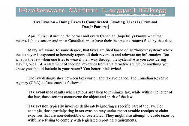 Tax Evasion – Doing Taxes Is Complicated, Evading Taxes Is