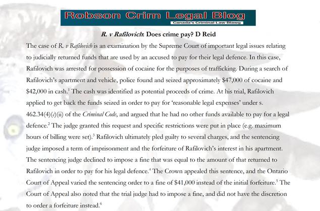 R. v Rafilovich: Does crime pay? D Reid