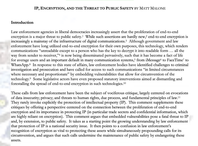 IP, ENCRYPTION, AND THE THREAT TO PUBLIC SAFETY BY MATT MALONE