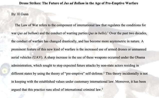 Drone Strikes: The Future of Jus ad Bellum in the Age of Premptive Warfare