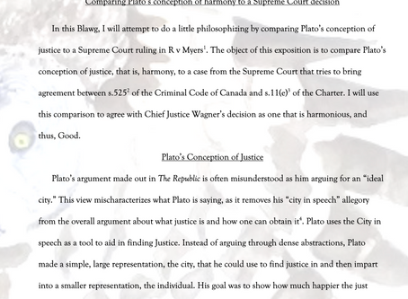 Comparing Plato's conception of harmony to a Supreme Court decision by J Hildebrandt