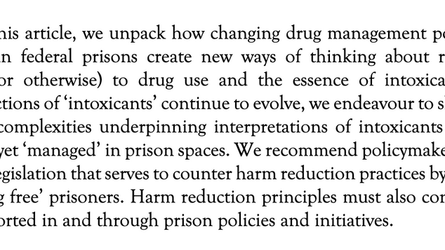 Constructing, Assessing, and Managing the Risk Posed by Intoxicants within Federal Prisons