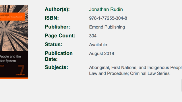 """Book Review of """"Indigenous People and the Criminal Justice System: A Practitioner's Handbook"""""""