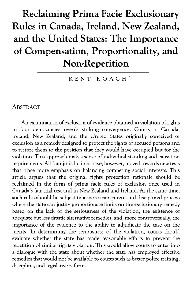 Reclaiming Prima Facie Exclusionary Rules in Canada, Ireland, New Zealand, & the USA by Kent Roach