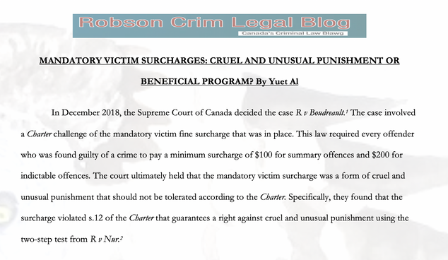 MANDATORY VICTIM SURCHARGES: CRUEL AND UNUSUAL PUNISHMENT OR BENEFICIAL PROGRAM? By Yuet Al