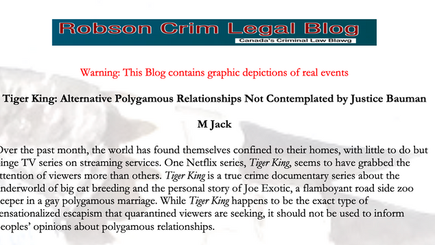 Tiger King: Alternative Polygamous Relationships Not Contemplated by Justice Bauman - M Jack