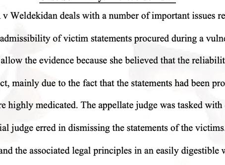 Case Summary: R v Weldekidan