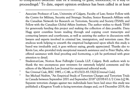 An Empirical and Qualitative Study of Expert Opinion Evidence in Canadian Terrorism Cases