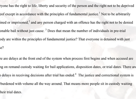 Pre-trial detention: R v Balfour & Young, R v Myers and Charter s 7, 9, 11(e)