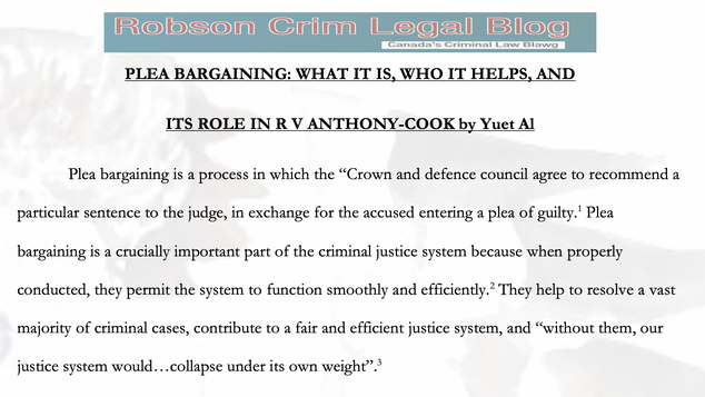 PLEA BARGAINING: WHAT IT IS, WHO IT HELPS, AND ITS ROLE IN R V ANTHONY-COOK by Yuet Al