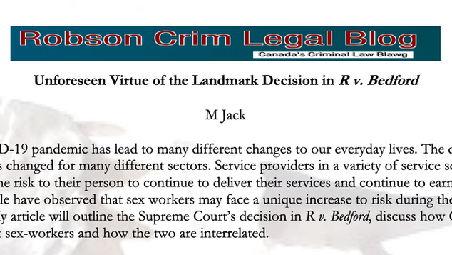Unforeseen Virtue of the Landmark Decision in R v Bedford by M Jack