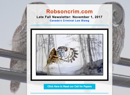 Robson Crim Fall 2017 Newsletter