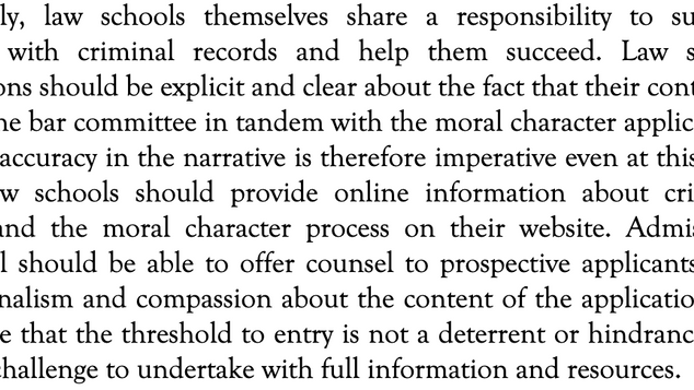 Moral Character: Making Sense of the Experiences of Bar Applicants with Criminal Records by H AVIRAM