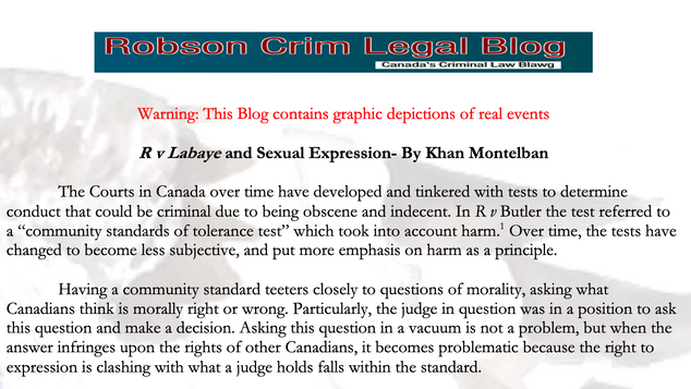 R v Labaye and Sexual Expression - By Khan Montelban