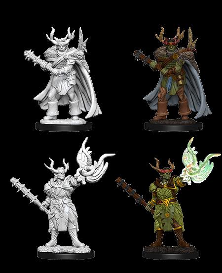 Pathfinder Deep Cuts Unpainted Miniatures Male Half-Orc Druid