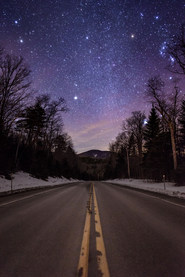 View of Cascade Mountain under the stars from Rt 73 in Keene, NY