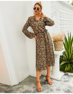 Leopard Midi Dress Women High Waist