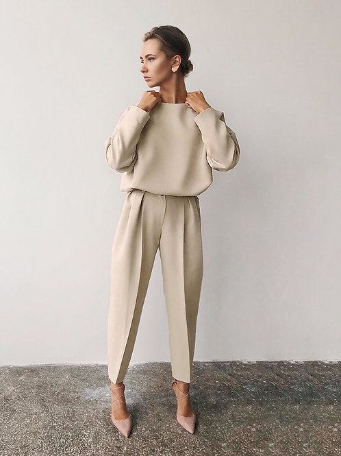 Casual High Waist Khaki Pants Blouse Suit