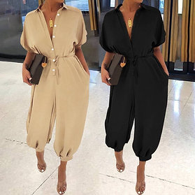 Women Casual Solid Color Jumpsuit 2020