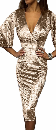 Sparkly Velvet Bodycon Midi Party Dress