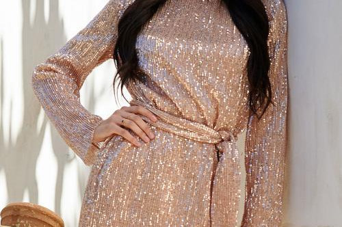 Apricot Long Sleeve Sequin Belted Mini Dress