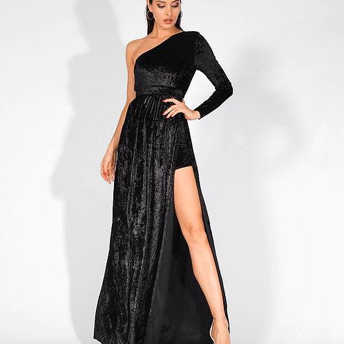One Shoulder Velvet Dress