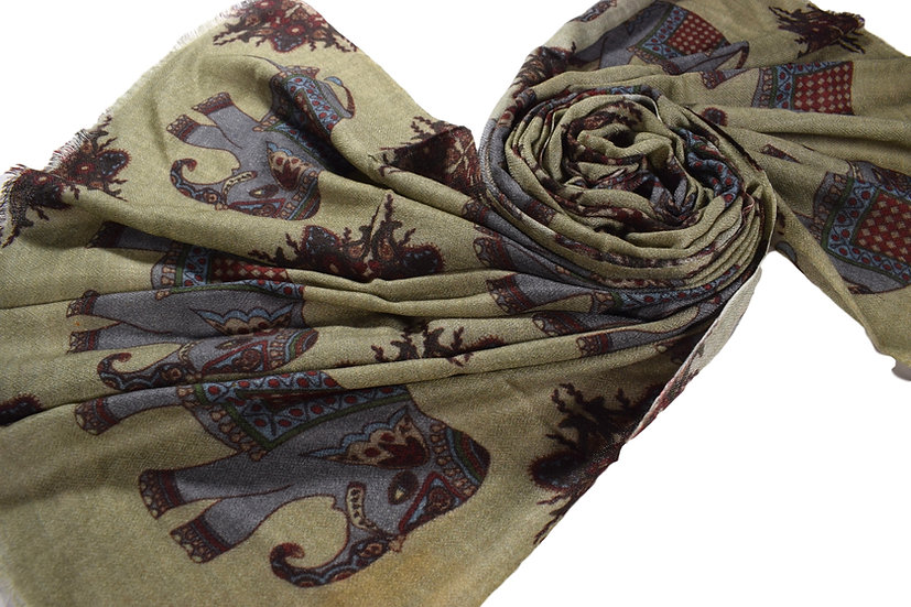 Merino - Wolle Pashmina, Elefant Mosaik bedruckt
