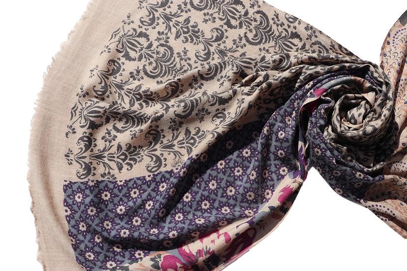 Merino Wool Pashmina - printed beige violet