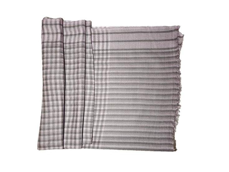 Checkered Merino Wool Pashmina
