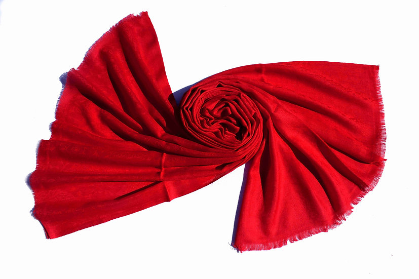 Merino Wool Pashmina, Red with Ornaments