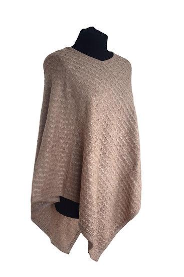 Merino Wool Classic knitting Pattern poncho , beige