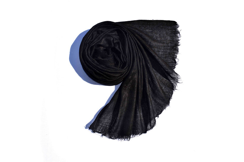 Merino Wool Pashmina, black with Ornaments